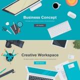 Conceptos planos del ejemplo del diseño para el negocio y el espacio de trabajo creativo Imagenes de archivo