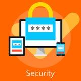 Conceptos planos del ejemplo del diseño para la seguridad de datos e i libre illustration