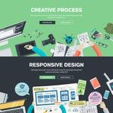 Conceptos planos del ejemplo del diseño para el gráfico y el diseño web Imágenes de archivo libres de regalías