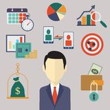 Conceptos planos del negocio y de las finanzas Imagen de archivo libre de regalías