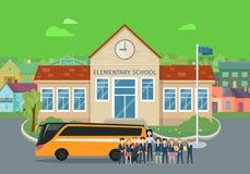 Conceptos planos del vector de la High School elemental y secundaria stock de ilustración