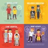 Conceptos planos del vector del cuidado de la persona discapacitada fijados Imagen de archivo libre de regalías