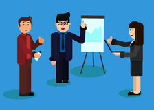 Conceptos planos para el análisis y el planeamiento de negocio, consultando, trabajo del equipo, gestión del proyecto, informe fi stock de ilustración