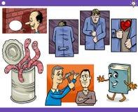 Conceptos y refranes de la historieta fijados stock de ilustración
