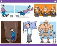 Conceptos y refranes de la historieta fijados ilustración del vector