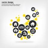Concepts à la maison d'icônes Photos libres de droits
