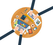Concepts for business analysis, consulting. Top view of a team working together on a project with documents and laptop. Concepts for business analysis Stock Image