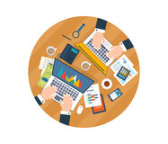 Concepts for business analysis, consulting. Top view of a team working together on a project with documents and laptop. Concepts for business analysis Royalty Free Stock Image