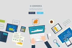 Concepts for business analysis, financial report. Flat design illustration concepts for business analysis and planning, e-commerce, financial report, online Royalty Free Stock Image