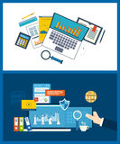 Concepts for business analysis, financial strategy and report, project management. Flat design illustration concepts for business analysis, financial strategy Royalty Free Stock Image