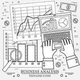 Concepts for business analysis and planning, consulting, team wo. Rk, project management,financial report and strategy.  Thin line icon Stock Image