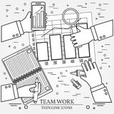 Concepts for business analysis and planning, consulting, team wo. Rk, project management,financial report and strategy.  Thin line icon Royalty Free Stock Photo