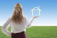Concepts of buying house. Woman with the house, concepts of buying house Stock Photo