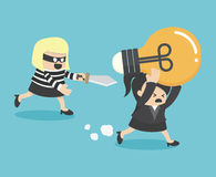 Concepts Cartoons Thief stealing idea Business Stock Photography