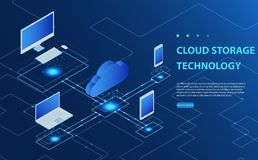 Concepts Cloud storage. Header for website with Computer, laptop, smartphone on blue background. Isometric Flat Cloud Hosting Network vector illustration Stock Image