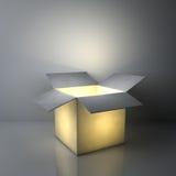 Concepts créatifs d'idée, un caisson lumineux ouvert lumineux rougeoyant sur le fond gris-foncé illustration de vecteur