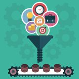Concepts for creative process, big data filter, data tunnel and analysis. Flat  illustration Stock Image