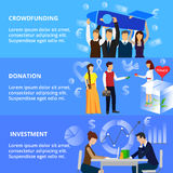 Concepts of crowdfunding, donation process and investment. Modern flat thin line design vector illustration, concepts of crowdfunding, donation process and Royalty Free Stock Images
