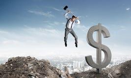 Concepts d'affaires globales et d'argent Devise en baisse du dollar Images libres de droits