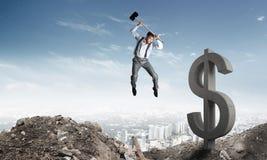 Concepts d'affaires globales et d'argent Devise en baisse du dollar Photographie stock libre de droits