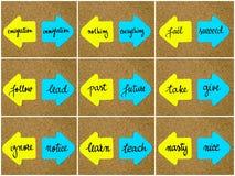 Concepts d'antonyme écrits sur les flèches opposées illustration de vecteur