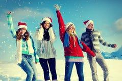 Concepts d'unité de bonheur d'hiver d'amitié Image libre de droits