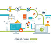 Concepts for data protection, encryption and secure exchange. Royalty Free Stock Images