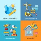 Concepts de bâtiment Construction d'ingénierie, travaux de finissage et logement d'immobiliers illustration stock
