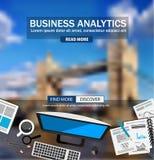 Concepts de construction plats de style pour des analytics d'affaires et la stratégie de gain Photo libre de droits