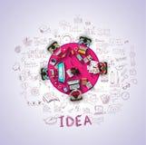 Concepts de construction plats de style pour la stratégie commerciale et la carrière Photo libre de droits