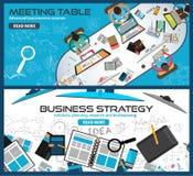 Concepts de construction plats de style pour la stratégie commerciale, finances, faisant un brainstorm Images stock