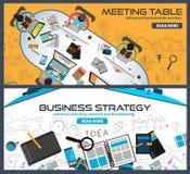 Concepts de construction plats de style pour la stratégie commerciale, finances, faisant un brainstorm Photographie stock