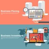 Concepts de construction plats pour la planification des affaires et l'investissement global Photos libres de droits