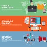 Concepts de construction plats pour la planification stratégique stratégique, l'investissement global et la solution d'affaires Photo libre de droits