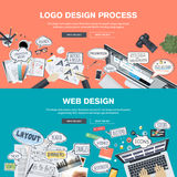 Concepts de construction plats pour le développement de conception et de web design de logo Photographie stock