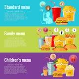 Concepts de construction plats pour les aliments de préparation rapide Concepts pour des bannières de Web et des matériel promoti illustration libre de droits