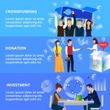 Concepts de crowdfunding, de processus de donation et d'investissement Images libres de droits