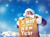 Concepts de Santa Claus Christmas New Year Scroll Images libres de droits