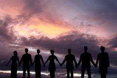 Concepts de succès, d'amitié, de la communauté et de bonheur Images stock