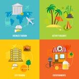 Concepts de tourisme de bâtiment plats illustration stock