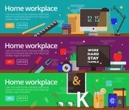 Concepts de vecteur de la conception des lieux de travail à la maison Photo libre de droits