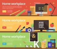Concepts de vecteur de la conception des lieux de travail à la maison Photos libres de droits