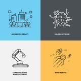 Concepts de vecteur de neurologie d'intelligence de la connaissance d'éducation Images stock