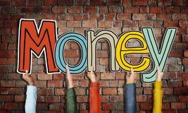 Concepts de Word d'argent et fond de mur de briques Photo libre de droits