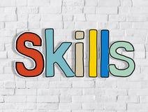 Concepts de Word de qualifications sur Brickwall blanc Image libre de droits