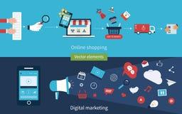 Concepts des achats en ligne Image libre de droits