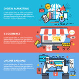 Concepts of digital marketing, e-commerce and online banking. Modern flat thin line design vector illustration, concept of digital marketing, e-commerce and Stock Image