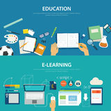 Concepts of education and e-learning flat design royalty free illustration