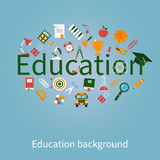 Concepts education and learning. Education icons in flat style. Logo design template. Concepts for web banners and print materials. Vector illustration Royalty Free Stock Image