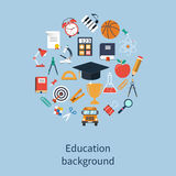 Concepts education and learning. Education icons in flat style. Logo design template. Concepts for web banners and print materials. Vector illustration Royalty Free Stock Images